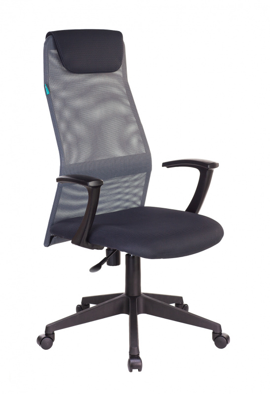 Кресло руководителя Бюрократ KB-8N темно-серый TW-04 TW-12 сетка/ткань с подголов. крестовина пластик