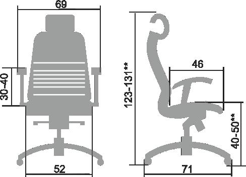 Кресло SAMURAI K-3.04 Размеры