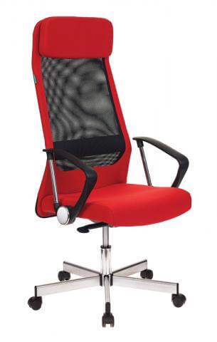 Кресло руководителя Бюрократ T-995HOME, RED черный, красный TW-01 сетка, ткань крестовина металл