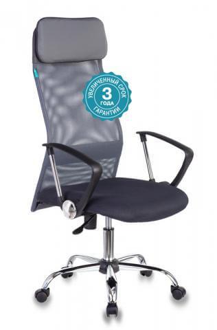 Кресло руководителя Бюрократ KB-6SL/DG/TW-12 серый TW-04 TW-12 сетка крестовина хром