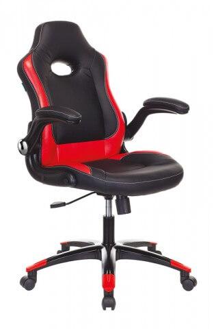 игровое кресло для геймеров Бюрократ VIKING-1N/BL-RED черный/красный искусственная кожа
