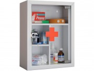 Металлическая аптечка с стеклянной дверцей AMD-39G