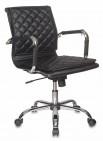 Кресло руководителя Бюрократ CH-991-LOW/BLACK черный, низкая спинка, искусственная кожа, крестовина хром